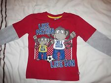 boys boy t-shirt tshirt top age 7 years long sleeved like father like son new