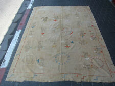 ANTIQUE UZBEK SILK HAND MADE- EMBROIDERED SUZANI 230x170-cm / 90.5x66.9-inches