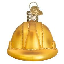 YELLOW CONSTRUCTION HELMET OLD WORLD CHRISTMAS GLASS BUILDING ORNAMENT NWT 32226