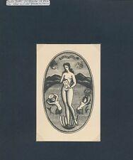 EX06062 EX Libris I. ZETTI 1947 Eugene Strens nude art fine X2