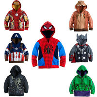 2016 Kids Boy Superhero Hoodie Hooded Jacket Jumper Sweatshirt Zip-Up Sport Tops