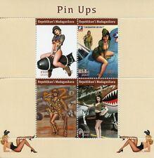 Madagascar Art Stamps 2020 MNH Pin-Ups Pin-Up Girls Aircraft Aviation 4v M/S I