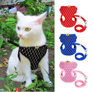 Cat Dog Walking Harness Jacket with Pets Leash Puppy Kitten Adjustable Vest Set