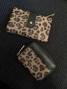 Fossil Wallet Set Lot Two Leopard Print Black Mini Bifold Clutch