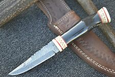 "HUNTEX Handmade Damascus 9"" Long Full Tang Unique Bush Craft Hunting Knife"