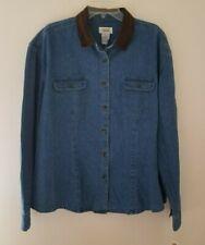 Talbots Sz XL Blue Denim Button Front Cotton Shirt With Faux Suede Collar NWT