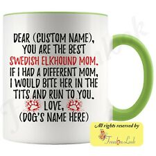 Personalized Swedish Elkhound Dog Mom Coffee Mug, Jämthund Owner Women Gift