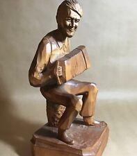 Vintage PAUL CARON Folk Art Hand Carved Wood Statue Sculpture Man w/ Squeeze Box