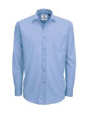 Camicie classiche da uomo blu lavabile in lavatrice in misto cotone