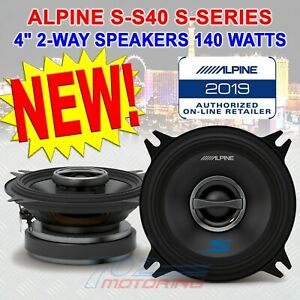 "ALPINE S-S40, S-SERIES 4"" / 4x6"" 2-WAY COAXIAL CAR SPEAKERS 140 WATTS PAIR NEW!"