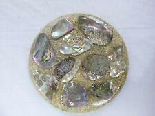 Vtg Mid Century Abalone & Glitter Sparkle Hot Plate Trivet Hyler Monterey, Ca