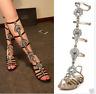 Womens Gladiator Sandals Celeb Rhinestones Leather Diamante Tall Flats Shoes US