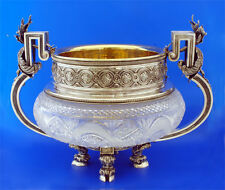 Rare Russian Silver & Crystal Huge Center Piece Bowl With Gemstones
