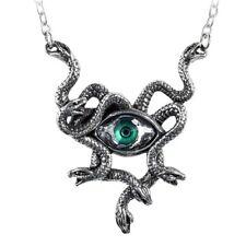 ALCHEMY GORGON'S EYE Snake Necklace Green Swarovski Evil Eye Pendant + GIFT BOX
