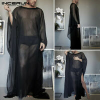 Men Long Sleeve Mesh See Through Long T Shirts Loose Baggy Kaftan Dress Robe Top