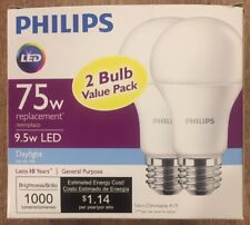 (2 PACK) 75W Equivalent Daylight A19 LED Light Bulb 9.5 Watt Bulbs
