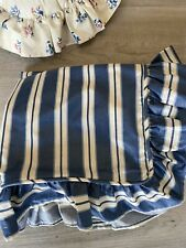 Waverly 2 Pillow Shams Blue White Stripe Ruffled Chintz Rare Htf Cottage