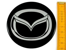 "MAZDA *4 x NEW* Emblems 90mm (3 1/2"") WHEEL CENTER CAP STICKERS 3D DECALS"