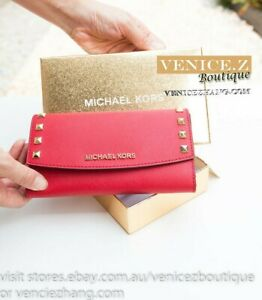 Brand New In Box MICHAEL KORS KARLA Stud Leather Wallet Clutch Purse Red