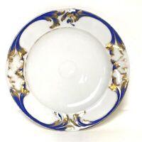Beautiful Antique Old Paris Porcelain Raised Blue & Gold Decorated Plate