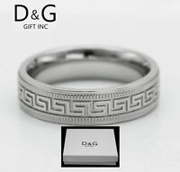 DG Men's Stainless-Steel.Silver Band Rings 8,9,10,11,12 13 + Box