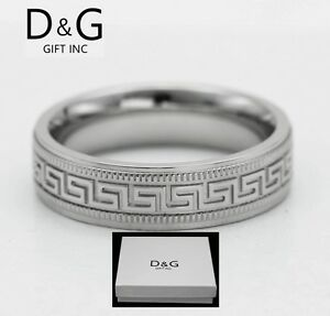 Greek Tattoo Band Stainless Steel Ring 8mm Comfort Fit Size 8-17 Mens Jewelry