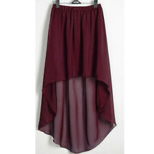 Maroon Chiffon Asym Skirts Women Lady Waist Maxi High Low Hem Asymmetric Dress