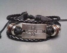 Christian Bracelet ANTIQUE SILVER Facing BLACK LEATHER MULTI BRAID Design Gift!