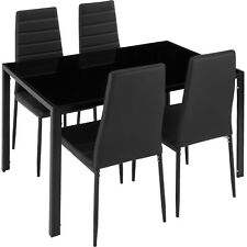 Dining Set 4 Chairs with Table dining room Furniture Faux Leather Cover Black