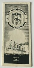 Vintage 1925 Panama Pacific Line SS Mongolia Passenger List CA to NY cruise ship