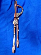 Western Medium Oil Single Ear Show Headstall, Bridle Gold Accents