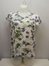 Women Knit Top SIZE XL ADRIAN DELAFIELD MultiColor Floral Cap Sleeves Scoop Neck