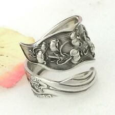 LILY VALLEY Sterling Silver Spoon Ring Sz 8-13 Custom Silverware Jewelry,Antique