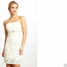 Sue Wong  N 1164  3D floral lace cut out IVORY cocktail social dress 8 NEW