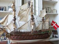 """Antique Wood Model Ship of Famous Danish """"Norske Love"""" Needs Restoration 1:75"""