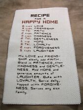 """Completed Cross Stitch """" Recipe For A Happy Home """""""