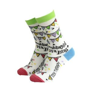Womens Welsh Penblwydd Hapus Funny Novelty BAMBOO Gift Socks | Sock Therapy