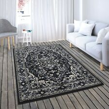New Soft Black Oriental Traditional Living Room Bedroom Area Rug Sale