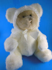 "WHITE Christmas Angel Teddy Bear 12"" sitting size CUDDLY! Rare PBC plush"