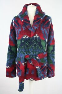 POLO RALPH LAUREN Navajo Wool Hand Knit Belted Shawl Ranch Cardigan Size M