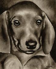 Dachshund Puppy Art Print Sepia Watercolor Painting by Artist Djr