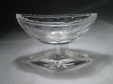 Vintage Retro Small Clear Cut Glass Canoe-Shaped Stemmed Vase.