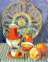 painting art Shpakovsky socrealism vintage still life old coffee peach