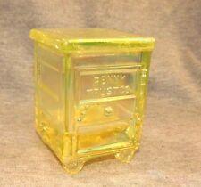 "VASELINE CARNIVAL GLASS ""PENNY TRUST CO"" Child's Coin Savings Bank Safe WG Mark"