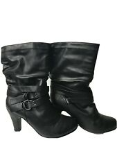 "WET SEAL Women's Size 10 Black Pull On Side Buckled 3"" Heels Mid/calf Boots EUC"