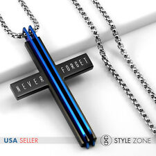 New York WTO 911 Memorial Stainless Steel Cross Pendant w Round Box Necklace Q24