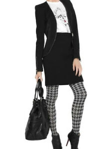 RARE! AUTHENTIC ALEXANDER MCQUEEN NEW ARCHIVE BLACK ORANGE HOUNDSTOOTH TIGHTS