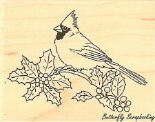 Holly Cardinal Christmas Wood Mounted Rubber Stamp IMPRESSION OBSESSION D7766