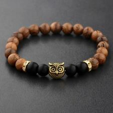 Women Wood Beads Bracelets Gold & Silver Owl & Black Bead Bracelet Retro Prayer