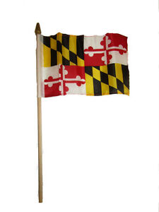 """Wholesale Lot of 6 6x9 6""""x9"""" State of Maryland Stick Flag wood Staff"""